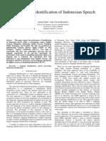 GMM-Based Identification of Indonesian Speech