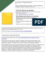 (de-)Rationalizing the Irrational- Discourse as Culture:Ideology