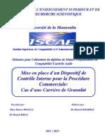 """Mémoire Master CCA """"Mise en place d'un dispositif de contrôle interne pour la procédure commerciale cas d'une carrière de granulat"""""""