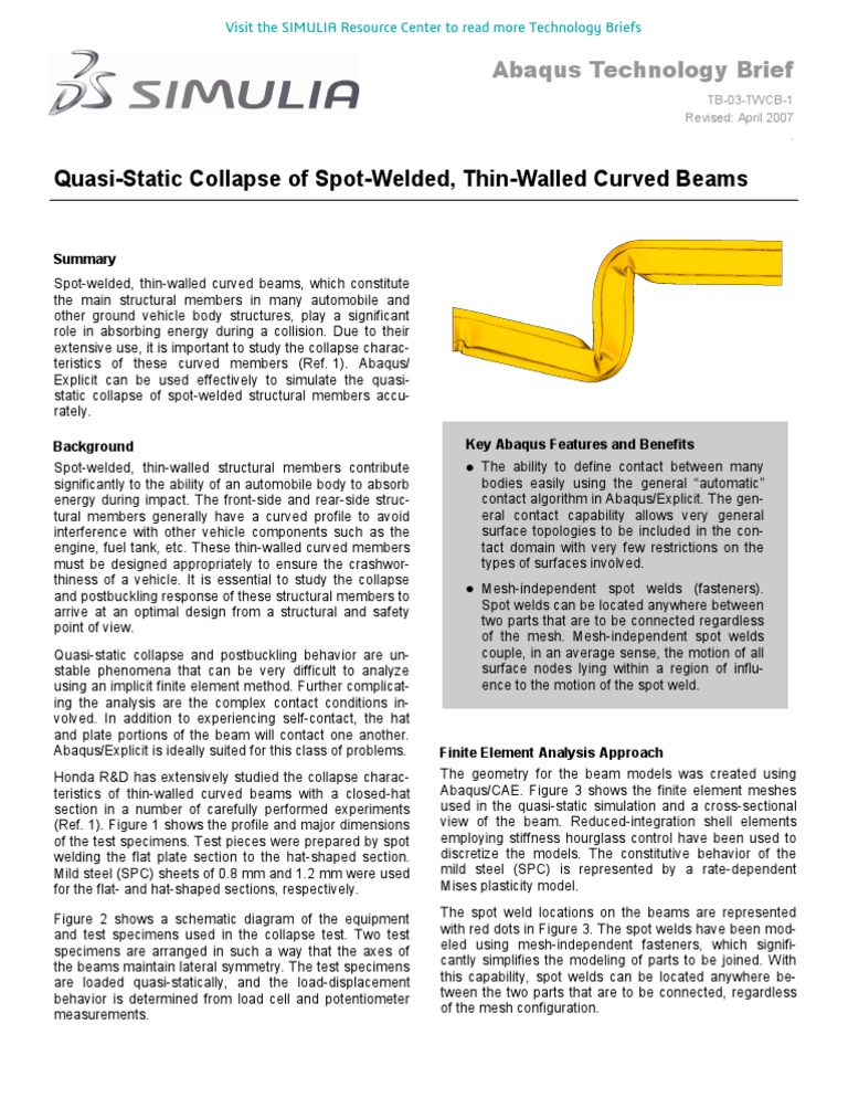 Quasi-Static Collapse of Spot-Welded Thin-Walled Curved