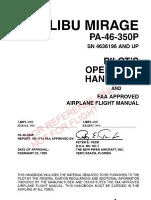 Piper PA-46-350 Malibu Mirage POH | Airspeed | Instrument