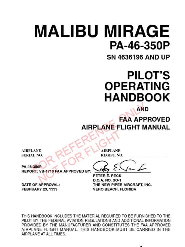 piper pa 46 350 malibu mirage poh airspeed instrument flight rules rh scribd com Piper Malibu Turboprop Piper Meridian Useful Load