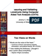 Measuring and Validating Constructs Using Computer Aided Text Analysis (CATA)
