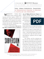 Press release for Subversion Inc., by Matthew Vadum (WND Books, 2011)