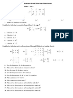 Fundamentals of Matrices Worksheet