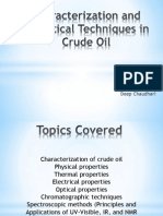 Charactersation and Analytical Techniques in Crude Oil