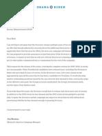 A letter from Jim Messina to Matt Rhoades