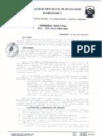 """Ordenanza Municipal N° 006-2012-MPH-BCA """"Bambamarca, cuna de la defensa del agua, la vida y el medio ambiente"""""""
