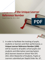 Adoption of the Unique Learner Reference Number