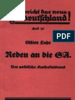 Lutze, Viktor - Reden an Die SA - Der Politische Katholizismus (1935, 24 S., Scan, Fraktur)
