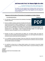 The Response to the Formation of Commission of Investigation on Arakan Violence