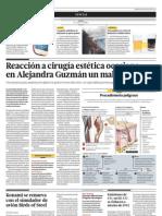 Reacción a cirugía estética ocasiona en Alejandra Guzman un mal incurable