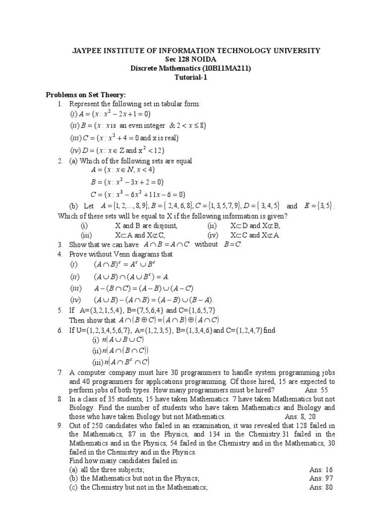 tutorial 1 jiit discrete maths | programmer | physics & mathematics