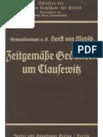Metsch, Horst Von - Zeitgemaesse Gedanken Um Clausewitz (1937, 26 S., Scan, Fraktur)