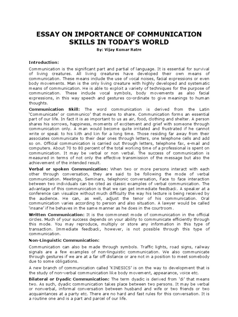 essay communication skills essay on importance of communication  essay on importance of communication skills in today s world essay on importance of communication skills