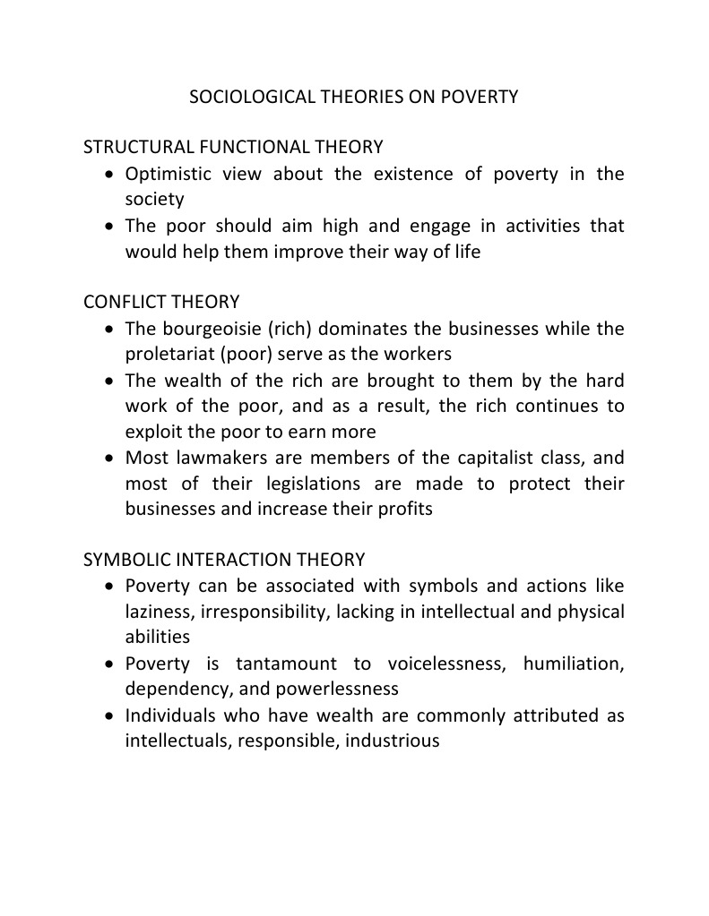 Soculita Sociological Theories On Poverty Poverty Threshold