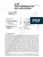Selection of Materials Biomedical Application(1)