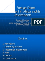 Foreign Direct Investment in Africa and Its Determinants