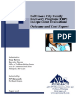 Baltimore City Family Recovery Program Independent Evaluation - Outcome Cost (2008)