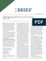 LIBOR RIGGING SCANDAL. NO NEW LAWS ARE NECESSARY