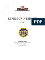 Maryland Levels of Intensity Caseworker Decision-Making Tool - FY 2012