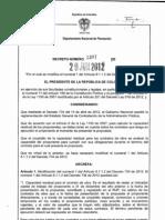 Decreto 1397 de 2012 Reglamenta Decreto 734