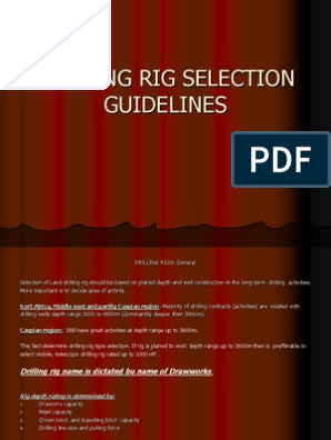 Drilling Rig Selection - Guidelines | Drilling Rig