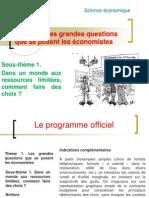 Sous-thème 1. Dans un monde aux ressources limitées, comment faire des choix 2012-2013