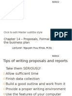 Proposals and Formal Reports