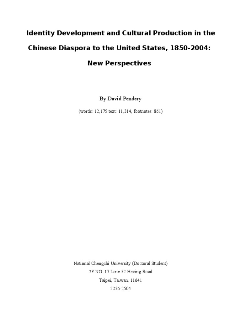 Identity Development and Cultural Production in the Chinese