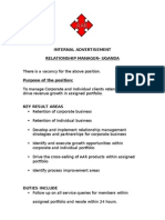 Job Advert -Relationship Manager