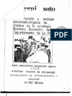 Transcripcion y Analisis Etnomusicologicos de Q'antus de La Provincia Bautista Saavedra Del Depto. La Paz
