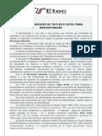 CONTRIBUIÇÃO DE TAYLOR E FAYOL PARA ADMINISTRAÇÃO