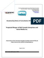 OpenMedia.ca/CIPPIC's Comments for CRTC 2012-370 (Bell's acquisition of Astral Media)