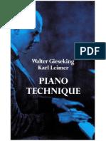 Gieseking Leimer Piano Technique