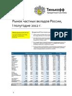 Рынок частных вкладов России, I полугодие 2012 г.