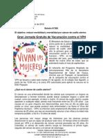 Boletín 065_ Gran Jornada Gratuita de Vacunación contra el VPH