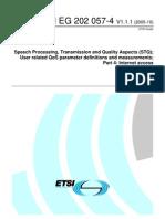 ETSI EG 202 057-4 Speech Processing - Transmission and Quality Aspects (STQ) - Umbrales de Calida