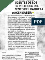 19860901 FLO-Los Dirigentes de Los Partidos Politicos Del Departamento Del Caqueta Hacen Saber