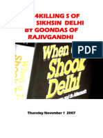 1984 Killing of 3000 Sikhs in Delhi by Goondas of Rajiv Gandhi