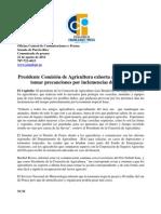 Presidente Comisión de Agricultura exhorta a agricultores tomar precauciones por inclemencias del tiempo