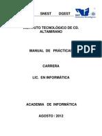 Manual Bases de Datos Distribuidas ITCA-AGO-2012 L.I. SERGIO VIVAS HERNÁNDEZ