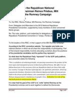 Open Letter to RNC Preibus Romney Campaign Sent 8.21