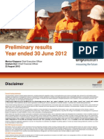 BHP Billiton Results for the Year Ended 30 June 2012