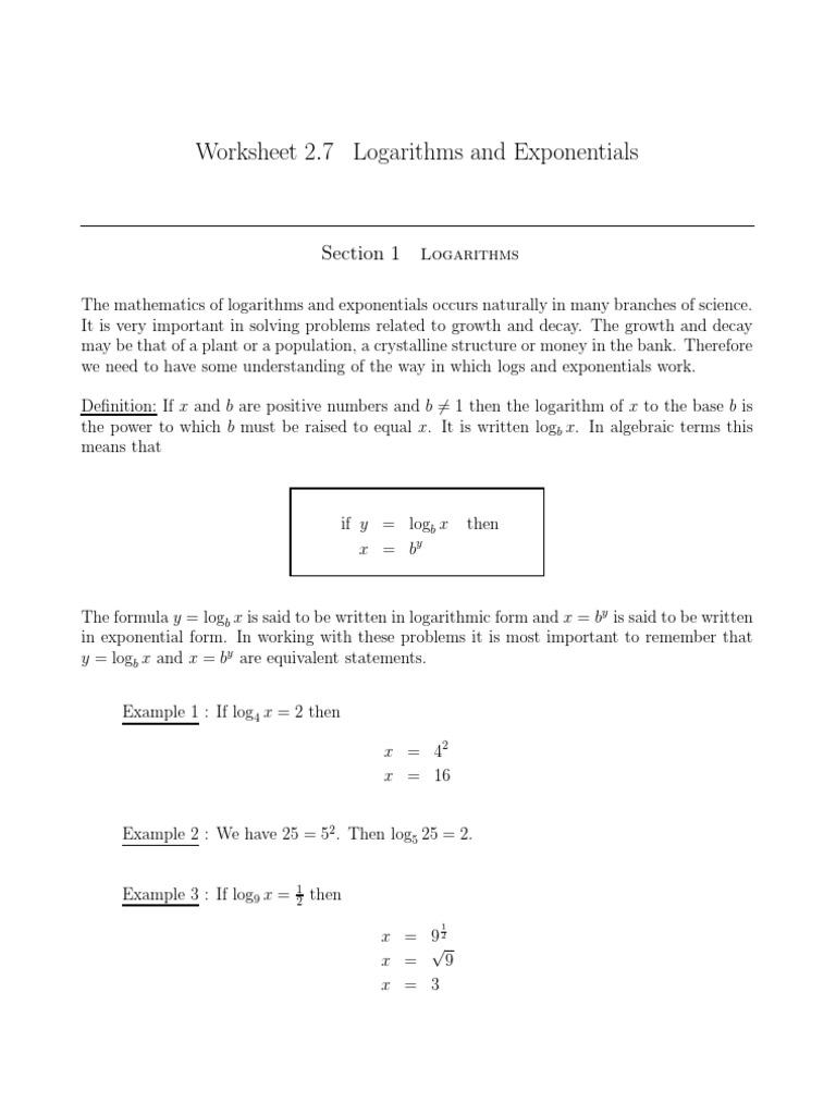 Logarithms Problems Logarithm