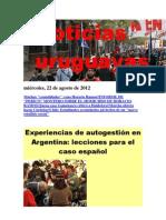 Noticias Uruguayas miércoles 22 de agosto del 2012