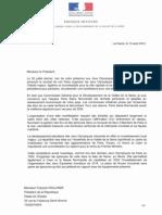PARIS 2024 - Lettre d'Antoine Rufenacht à François Hollande