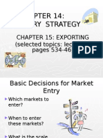 Entry Strategy & Strategic Alliances &  Exporting
