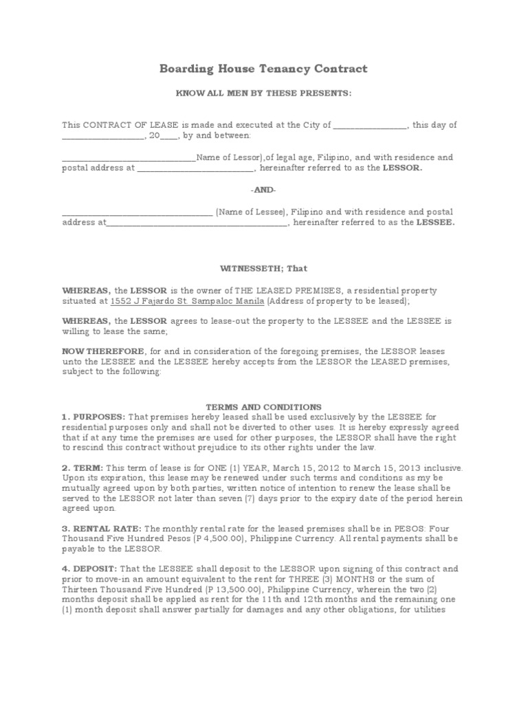 Boarding house tenancy contract lease common law for Boarder agreement template
