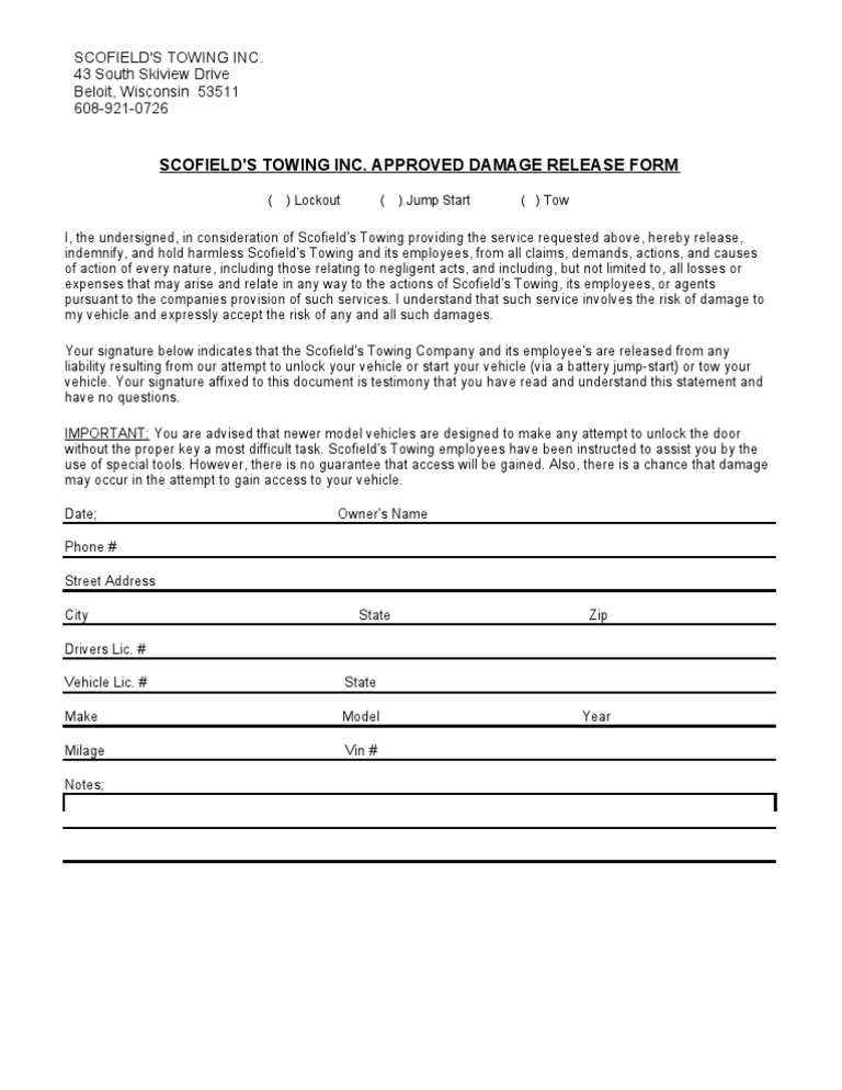 Liability Waiver Form. Printable Sample Release And Waiver Of ...